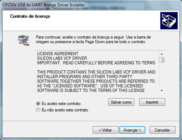 Intalação do NodeMCU no Windows Driver CP210x Termos