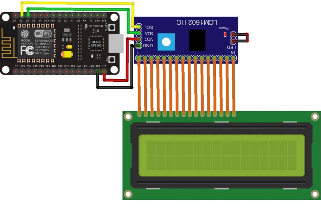 Esquema de Ligação NodeMCU e Display LCD 16X2