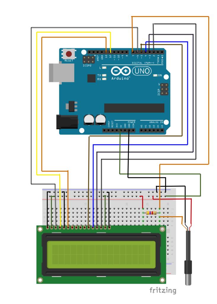 esquema de ligação do sensor ds18b20 com o display lcd