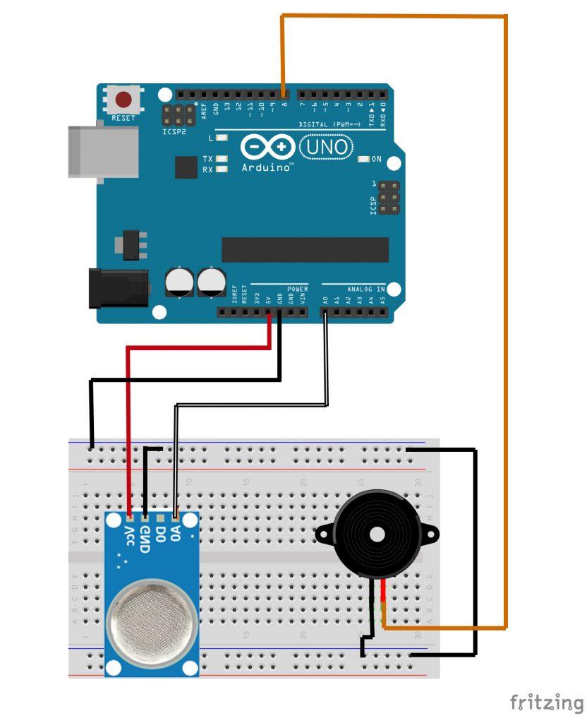 esquema de ligação sensor gás e fumaça mq-2 e buzzer