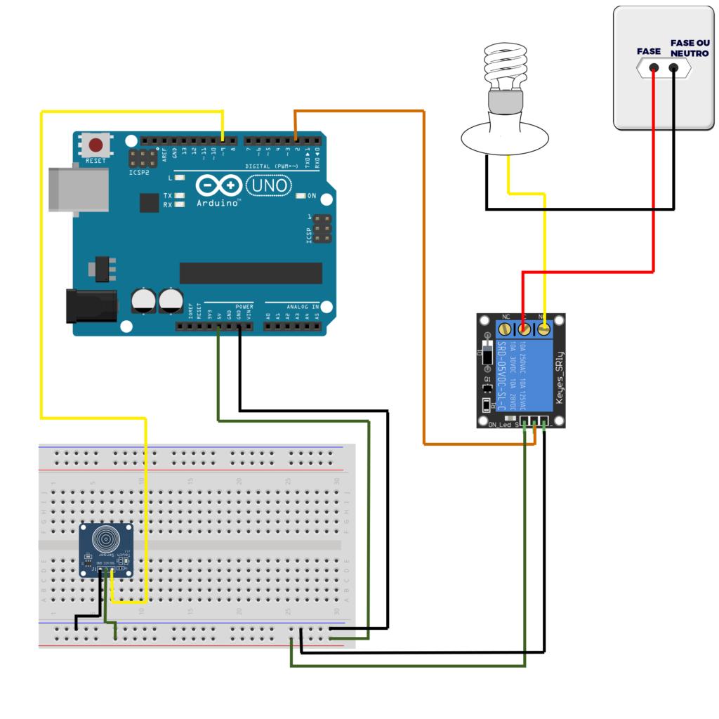 esquema de ligação para a criação de interruptor touch