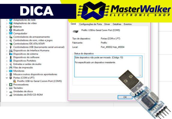 Conversor USB Serial TTL PL2303HX – Instalação no Windows 10