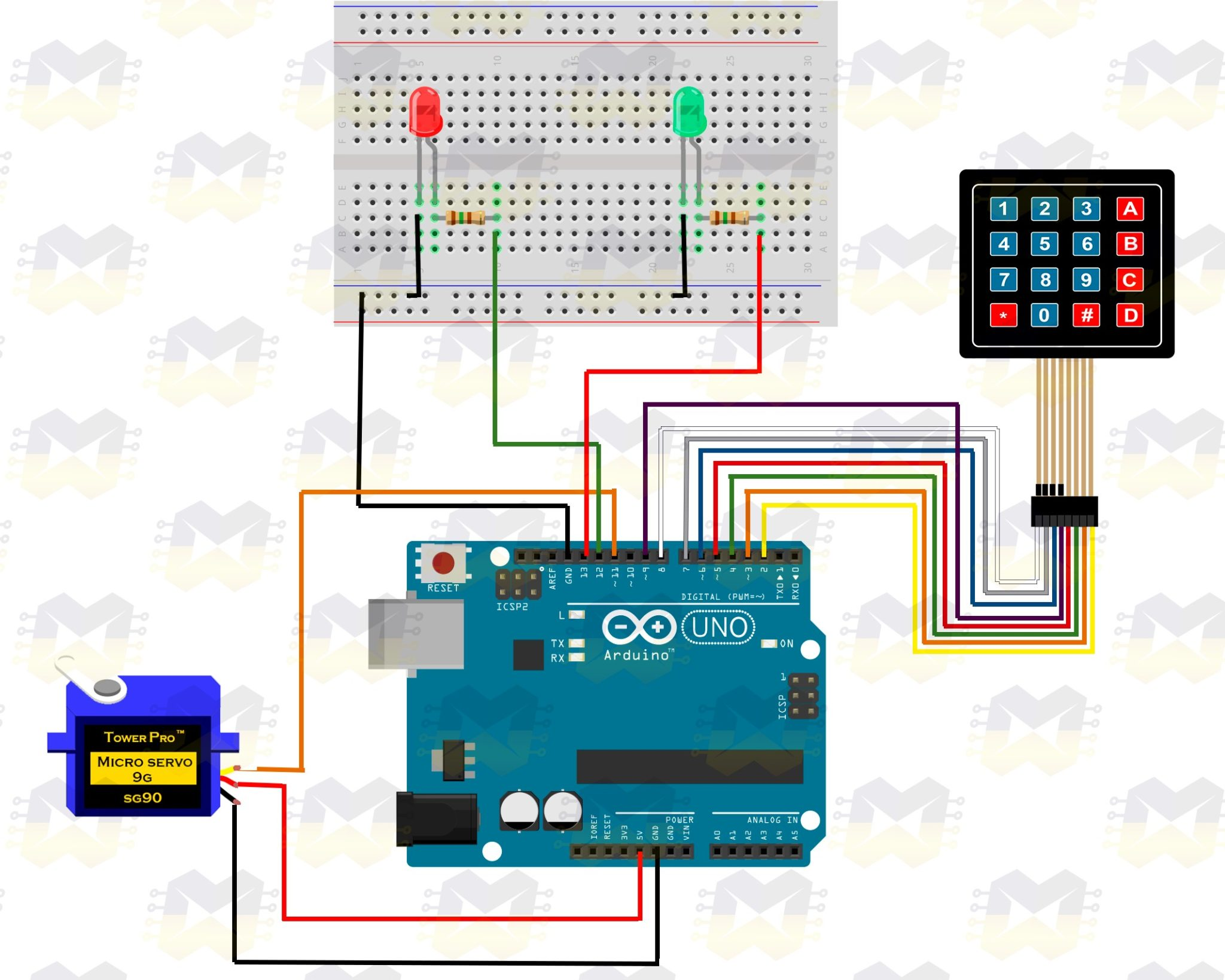 img03_arduino_simulador_de_fechadura_controlada_por_senha_micro_servo_sg90_9g_teclado_matricial_membrana_4x4
