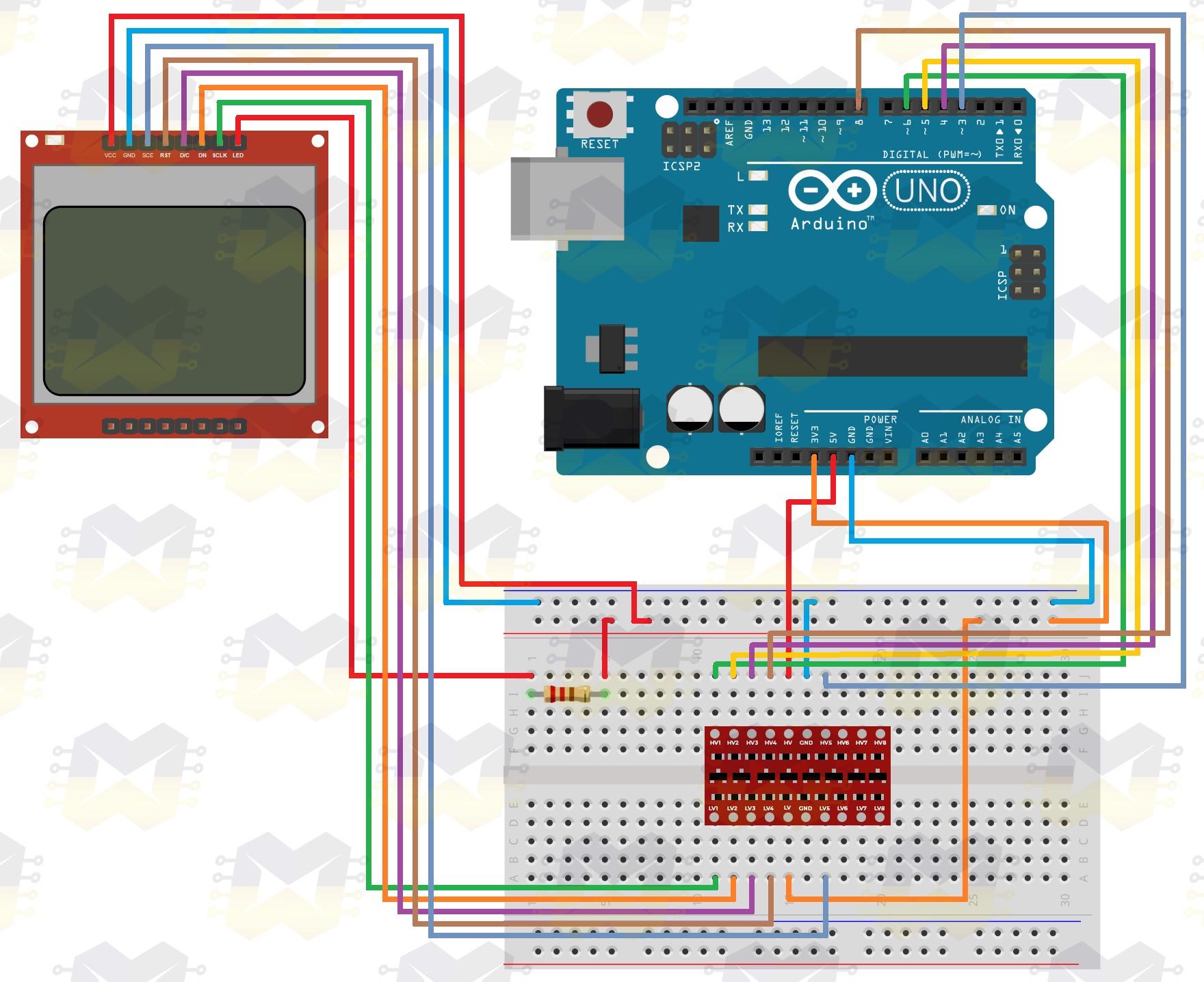 img01_como_usar_com_arduino_-_display_lcd_84x48_nokia_5110_3.3v_5v_conversor_nivel_logico_divisor_tensao_vermelho_azul_resistor