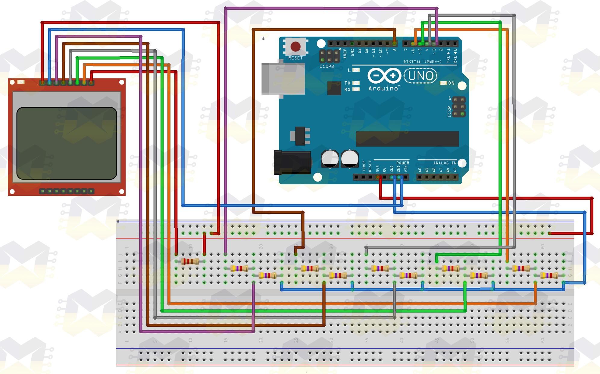 img02_como_usar_com_arduino_-_display_lcd_84x48_nokia_5110_3.3v_5v_conversor_nivel_logico_divisor_tensao_vermelho_azul_resistor