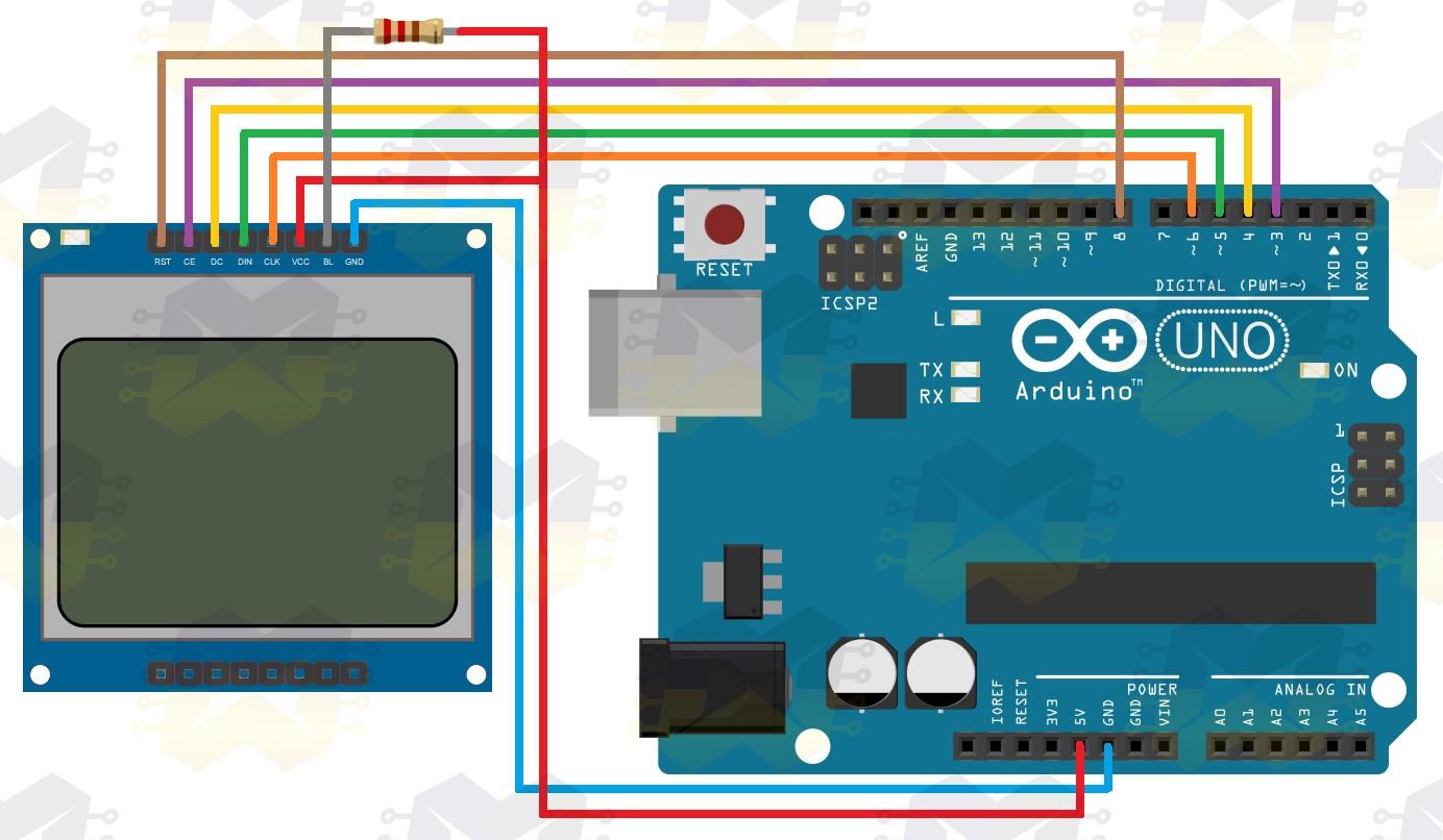 img03_como_usar_com_arduino_-_display_lcd_84x48_nokia_5110_3.3v_5v_conversor_nivel_logico_divisor_tensao_vermelho_azul_resistor