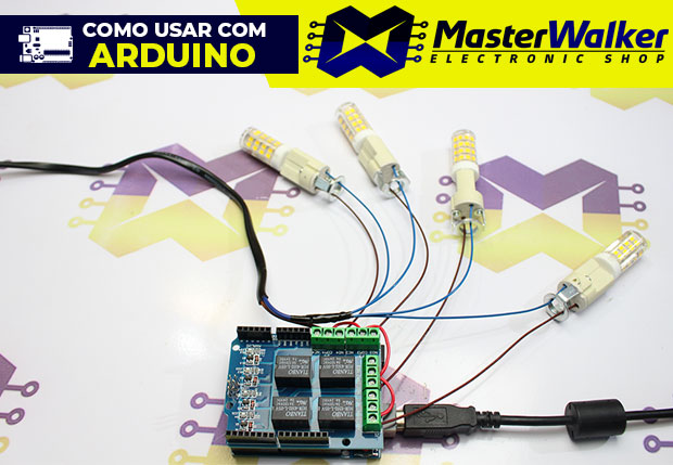 Como usar com Arduino – Shield Módulo Relé 5V de 4 Canais