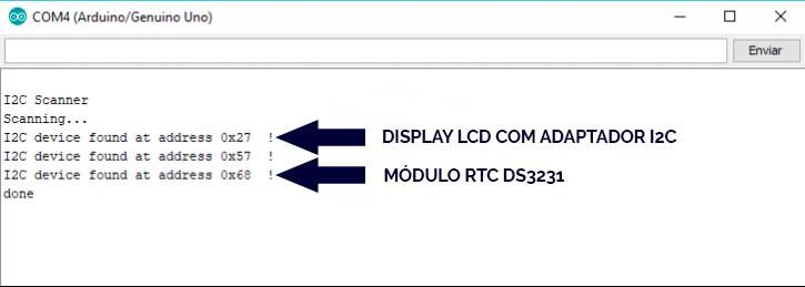 despertador com arduino: Monitor Serial do código I2C_Scanner